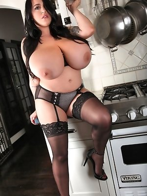 Leanne Stove Top Wearing Black Stockings and Lingerie